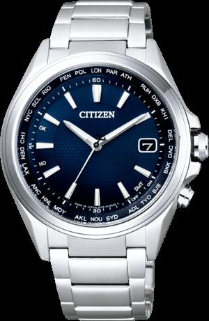 Herrenuhr Citizen Sport Quarz 42mm mit blauem Zifferblatt und Titanarmband