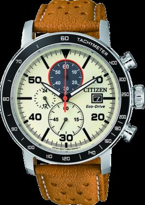Herrenuhr Citizen Sport Quarz Chronograph 44mm mit cremefarbenem Zifferblatt und Kalbsleder-Armband