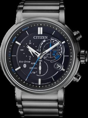 Herrenuhr Citizen Sport Quarz Chronograph 45,5mm mit schwarzem Zifferblatt und Edelstahlarmband