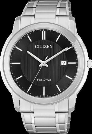 Herrenuhr Citizen Sports Eco Drive mit schwarzem Zifferblatt und Edelstahlarmband