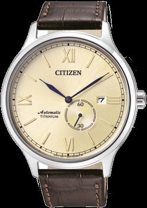 Herrenuhr Citizen Super Titanium Automatik mit champagnerfarbenem Zifferblatt und Armband aus Kalbsleder mit Krokodilprägung