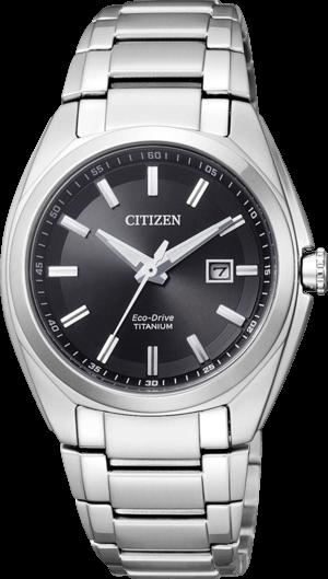 Damenuhr Citizen Super Titanium Damen mit schwarzem Zifferblatt und Titaniumarmband
