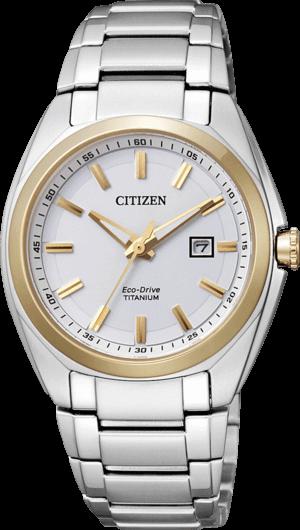 Damenuhr Citizen Super Titanium Damen mit weißem Zifferblatt und Titaniumarmband