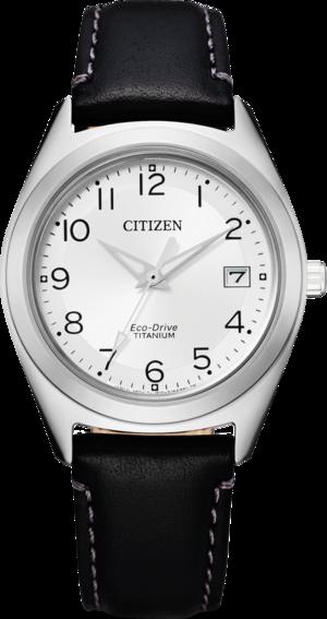 Damenuhr Citizen Super Titanium Damen mit weißem Zifferblatt und Kalbsleder-Armband