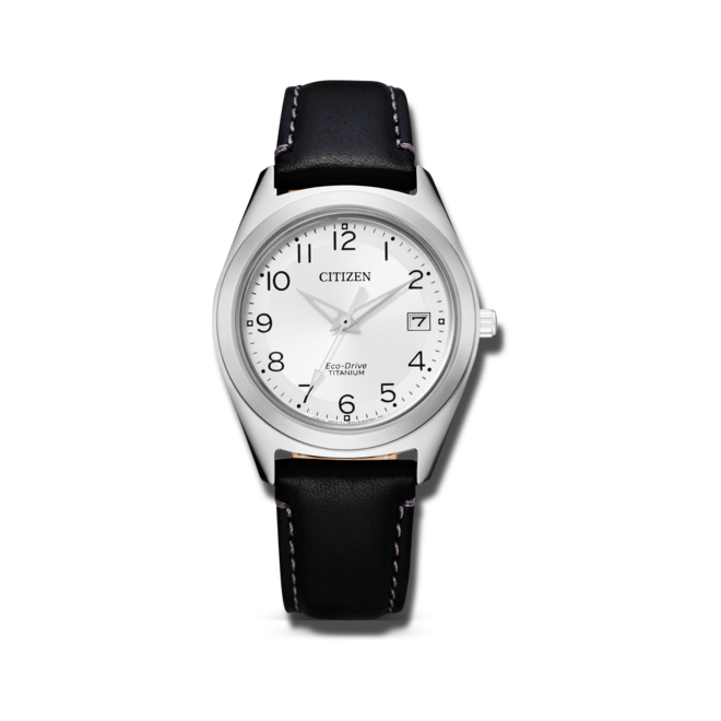 Damenuhr Citizen Super Titanium Damen mit weißem Zifferblatt und Kalbsleder-Armband bei Brogle