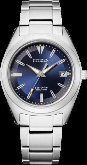 Damenuhr Citizen Super Titanium Damen mit blauem Zifferblatt und Titaniumarmband