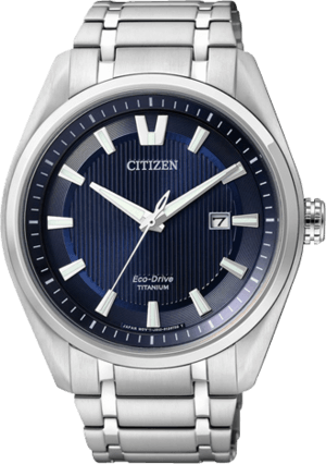 Herrenuhr Citizen Super Titanium Herren mit blauem Zifferblatt und Titaniumarmband