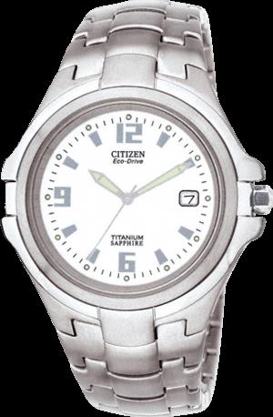 Herrenuhr Citizen Super Titanium Herren mit weißem Zifferblatt und Titaniumarmband