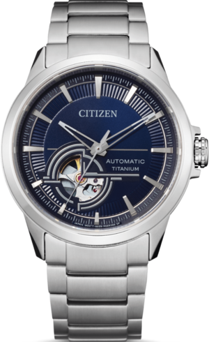 Herrenuhr Citizen Super Titanium Open Heart 41mm mit blauem Zifferblatt und Titaniumarmband