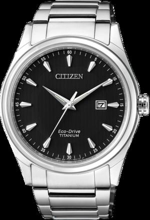 Herrenuhr Citizen Super Titanium Quarz 41mm mit schwarzem Zifferblatt und Titanarmband