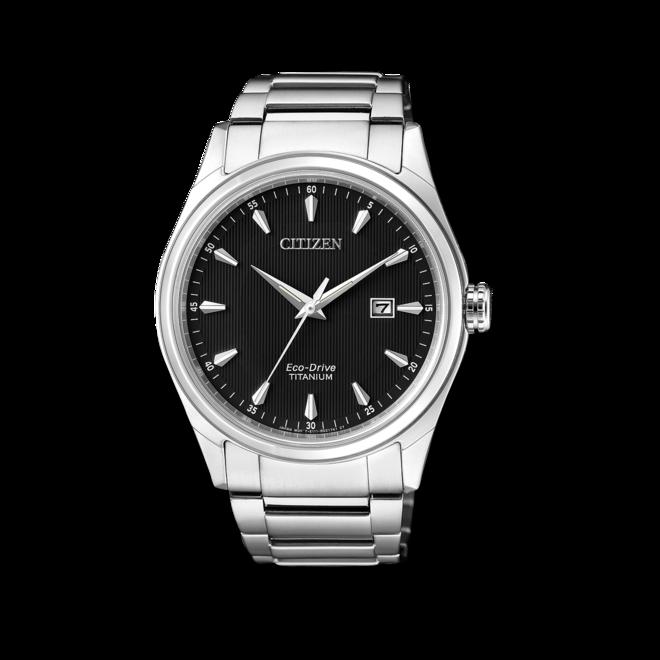 Herrenuhr Citizen Super Titanium Quarz 41mm mit schwarzem Zifferblatt und Titanarmband bei Brogle