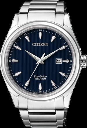 Herrenuhr Citizen Super Titanium Quarz 41mm mit blauem Zifferblatt und Titanarmband