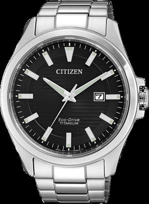 Herrenuhr Citizen Super Titanium Quarz 43mm mit schwarzem Zifferblatt und Titaniumarmband