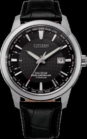 Herrenuhr Citizen Super Titanium Quarz 43mm mit schwarzem Zifferblatt und Kalbsleder-Armband