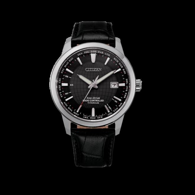 Herrenuhr Citizen Super Titanium Quarz 43mm mit schwarzem Zifferblatt und Kalbsleder-Armband bei Brogle