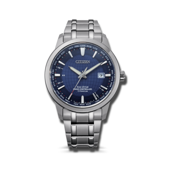 Herrenuhr Citizen Super Titanium Quarz 43mm mit blauem Zifferblatt und Titanarmband bei Brogle