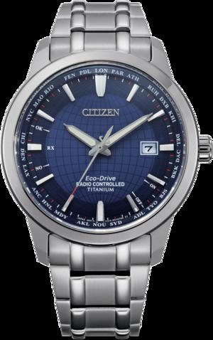 Herrenuhr Citizen Super Titanium Quarz 43mm mit blauem Zifferblatt und Titanarmband