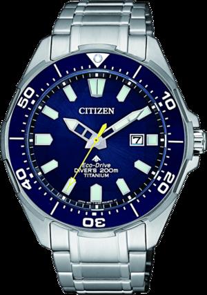 Herrenuhr Citizen Super Titanium Quarz 44mm mit blauem Zifferblatt und Titanarmband