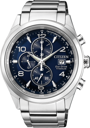 Herrenuhr Citizen Super Titanium Quarz Chronograph 42,5mm mit blauem Zifferblatt und Titanarmband