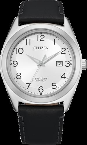 Herrenuhr Citizen Super Titanium Solar 41,5mm mit weißem Zifferblatt und Kalbsleder-Armband