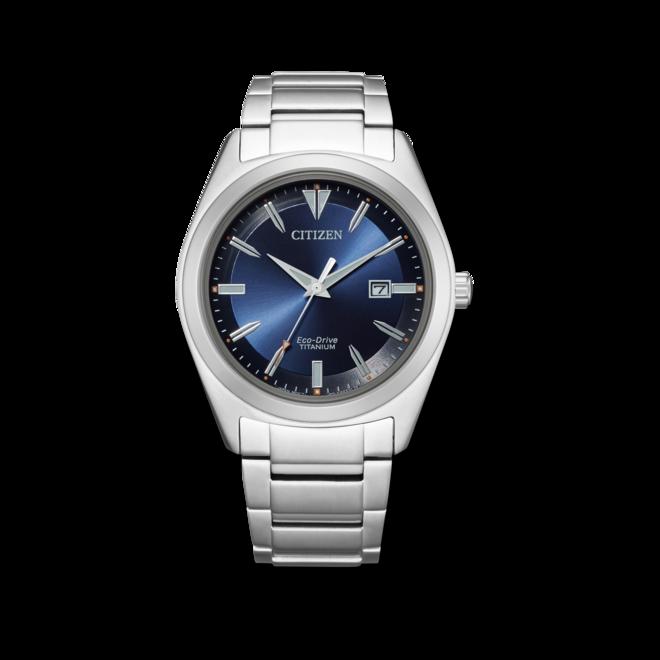 Herrenuhr Citizen Super Titanium Solar 41,5mm mit blauem Zifferblatt und Titaniumarmband bei Brogle