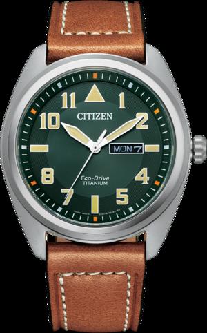 Herrenuhr Citizen Super Titanium Solar 42mm mit grünem Zifferblatt und Kalbsleder-Armband