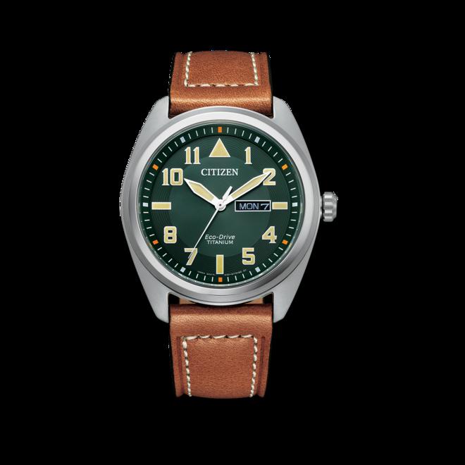 Herrenuhr Citizen Super Titanium Solar 42mm mit grünem Zifferblatt und Kalbsleder-Armband bei Brogle
