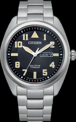 Herrenuhr Citizen Super Titanium Solar 42mm mit schwarzem Zifferblatt und Titaniumarmband