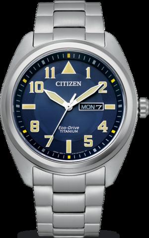 Herrenuhr Citizen Super Titanium Solar 42mm mit blauem Zifferblatt und Titaniumarmband