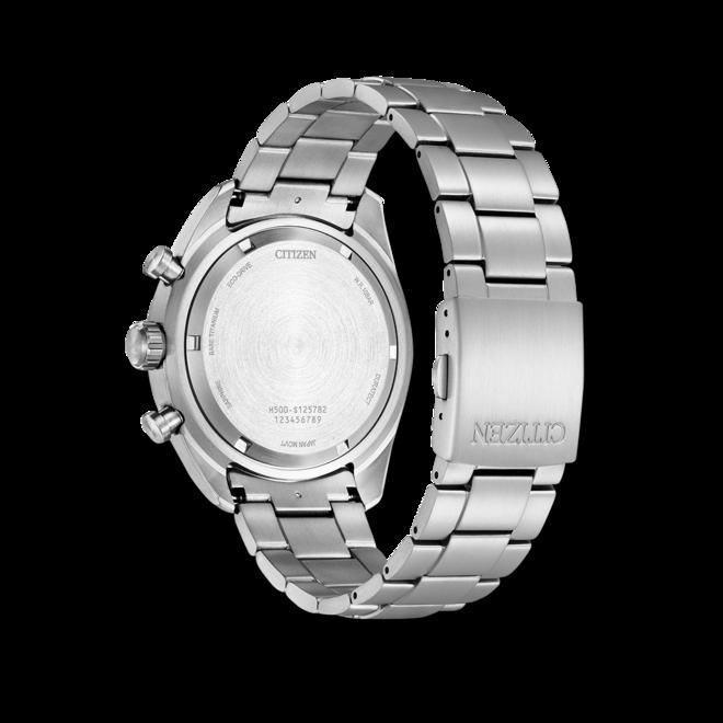 Herrenuhr Citizen Super Titanium Solar Chronograph 43mm mit schwarzem Zifferblatt und Titaniumarmband bei Brogle