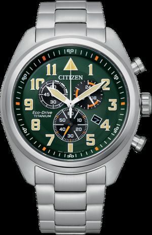 Herrenuhr Citizen Super Titanium Solar Chronograph 43mm mit grünem Zifferblatt und Titaniumarmband
