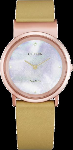 Damenuhr Citizen Super Titanium mit Diamanten, perlmuttfarbenem Zifferblatt und Kunstleder-Armband