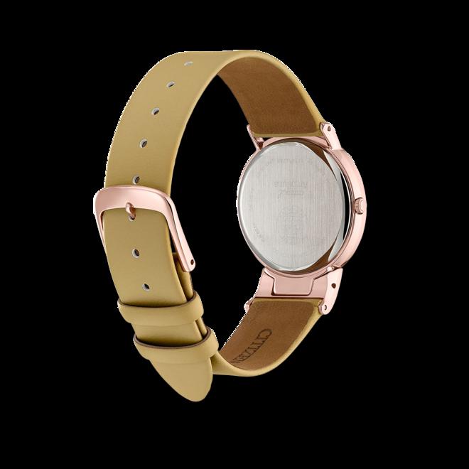 Damenuhr Citizen Super Titanium mit Diamanten, perlmuttfarbenem Zifferblatt und Kunstleder-Armband bei Brogle