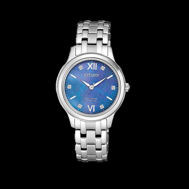 Damenuhr Citizen Super Titanium mit blauem Zifferblatt und Titaniumarmband bei Brogle