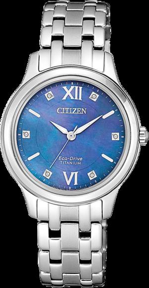 Damenuhr Citizen Super Titanium mit blauem Zifferblatt und Titaniumarmband