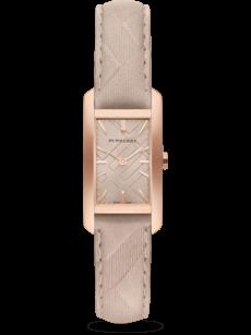 Damenuhr Burberry The Pioneer 20mm mit rosafarbenem Zifferblatt und Kalbsleder-Armband