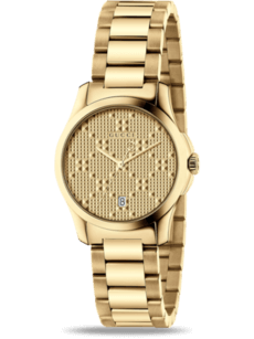 Damenuhr Gucci G-Timeless Quarz 27mm mit gelbgoldfarbenem Zifferblatt und Edelstahlarmband
