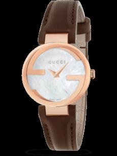 Damenuhr Gucci Interlocking Quarz 29mm mit perlmuttfarbenem Zifferblatt und Kalbsleder-Armband