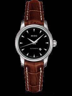 Damenuhr Mido Baroncelli Automatik 29mm mit schwarzem Zifferblatt und Kalbsleder-Armband