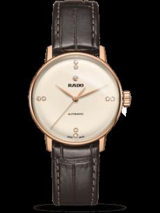 Damenuhr Rado Coupole Classic S Automatik mit Diamanten, champagnerfarbenem Zifferblatt und Armband aus Kalbsleder mit Krokodilprägung