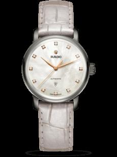 Damenuhr Rado DiaMaster Diamonds M Automatik mit Diamanten, perlmuttfarbenem Zifferblatt und Armband aus Kalbsleder mit Krokodilprägung