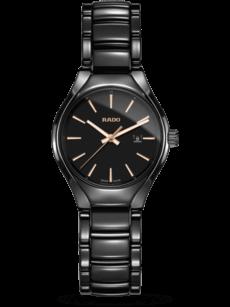 Damenuhr Rado Rado True S Automatik mit schwarzem Zifferblatt und Keramikarmband