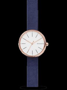 Damenuhr Skagen Signatur Quarz 30mm mit weißem Zifferblatt und Kalbsleder-Armband