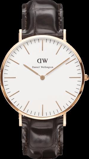 Herrenuhr Daniel Wellington Classic York mit elfenbeinfarbenem Zifferblatt und Kalbsleder-Armband