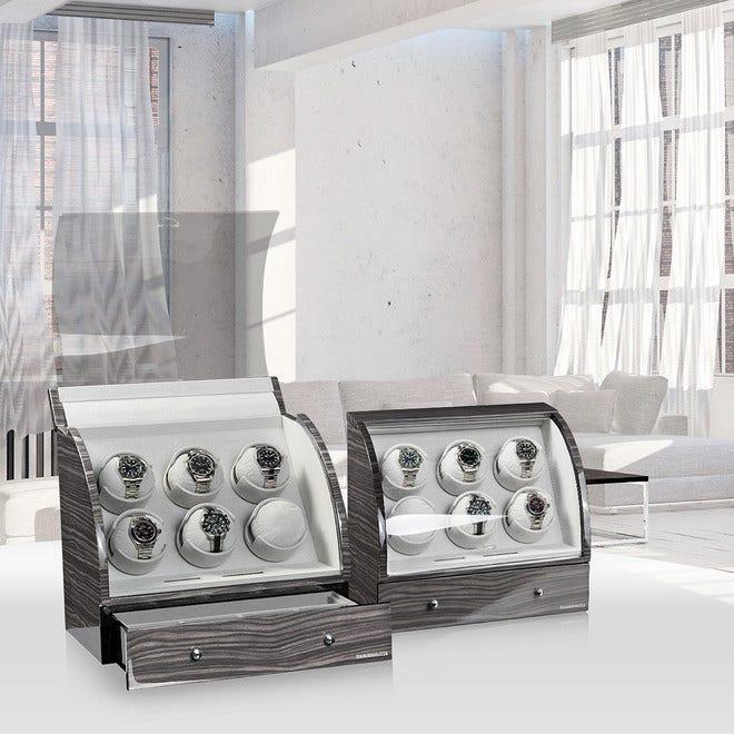 Uhrenbeweger Designhütte Uhrenbeweger Basel 6 LCD - Dark Oak aus Holz/MDF bei Brogle