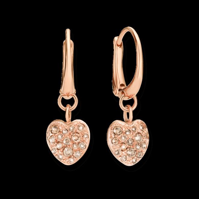 Ohrring Dodo Cuore aus 375 Roségold mit mehreren Diamanten (2 x 0,21 Karat)