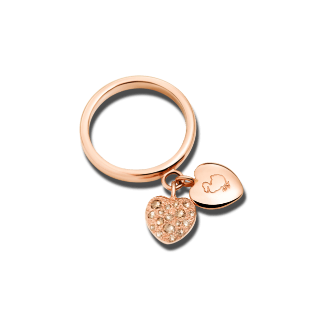 Ring Dodo Amore aus 375 Roségold mit mehreren Diamanten (0,21 Karat)