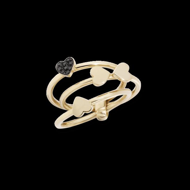 Ring Dodo Vierblättriges Kleeblatt aus 375 Roségold mit mehreren Diamanten (0,05 Karat)