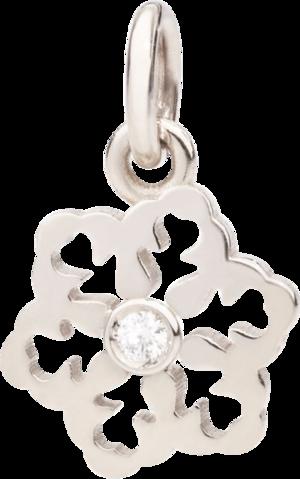 Anhänger Dodo Schneeflocke aus 375 Weißgold mit 1 Diamant (0,017 Karat)