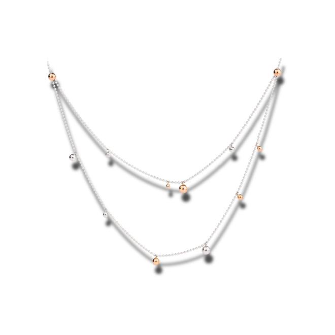 Halskette Dodo Bollicine aus 375 Roségold und 925 Sterlingsilber bei Brogle